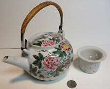 Japanese Porcelain Kutani Tea Pot Painted Flowers Bird Ceramic Teapot Japan