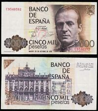 ERROR Billete de 5000 Pesetas año 1979 Juan Carlos I. Serie C. Nº 9540592.