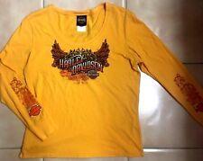 Harley-Davidson Yellow Long Sleeve Graphic Top T Shirt Live Free Hollywood CA XL