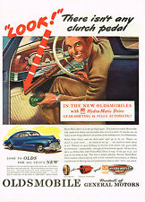 Vintage 1946 Magazine Ad Oldsmobile There Isn't Any Clutch Pedal In New Olds