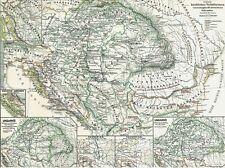 Alte Landkarte Königreich UNGARN im Mittelalter Christen Zagreb Pannonien 1878