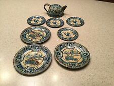 Vintage Wolverine Tin Litho Tea Set Dutch Blue Delft Child Play 8 Pieces Used