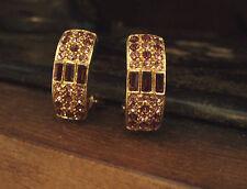 Beautiful Vintage Amethyst Purple Crystal Clip on Earrings