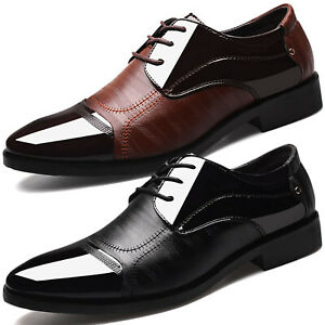 Mens Lace-Up Oxfords Dress Work Formal Business Point Toe Patent Leather Shoes