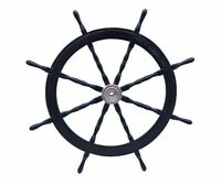 "36"" Brass Ship Steering Wheel Black Wooden Antique Teak Nautical Pirate Ship's"