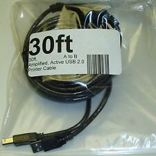 30ft Active/Amplified USB 2.0 A~B Printer/Device extra long Cable/Cord/Wire{AB
