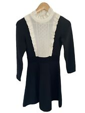 STUNNING Sandro Black White Frill High Neck Knit Skater Mini Dress Size 2 8-10