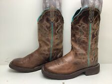VTG WOMENS JUSTIN GYPSY SQUARE TOE COWBOY BROWN BOOTS SIZE 9 B