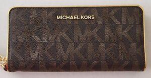 MICHAEL Michael Kors Signature Specchio Jet Set Travel ZA Continental Wallet BRO