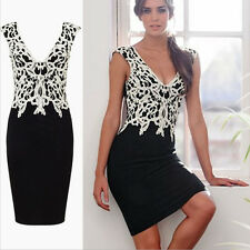 Elegant Women Sleeveless Floral Lace Slim Bodycon Cocktail Party Evening Dress