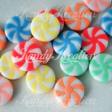 12 Peppermint Swirl Candy Beads 23mm Pastel Resin Acrylic for deco jewelry Kandi