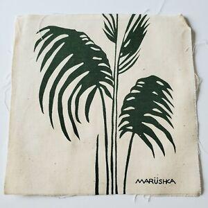 "Vtg Marushka Screen Print Textile Green Dark Green Plant 9""x 9"" Unframed"