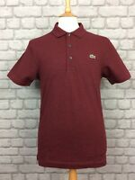LACOSTE MENS UK S FR 3 MAROON SHORT SLEEVE POLO SHIRT DESIGNER MENSWEAR CASUAL
