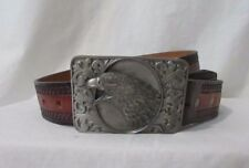 Bergamot Hand tooled leather belt Men's 38'' Pewter buckle w/ Eagle Usa 1983