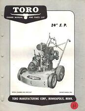 """Toro Vintage 24"""" Self Propelled Mower Operator'S & Parts Manual 1954"""