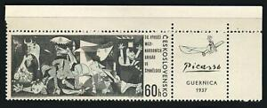 "Czechoslovakia 1966 Picasso ""Guernica"" (1408) Sheet Corner Single With Label MNH"