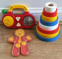 VINTAGE ACTIVITY BABY TOY BUNDLE - RATTLES & Stacking Rings Pre School Toddler