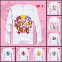 Anime Sailor Moon Casual T-shirt Long Sleeve Unisex Tops Tee White #R43D