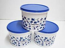 3 x New Tupperware Blue Lily Spring Garden Canister Cookie Food Container 1.7L