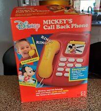 Vintage Mattel Mickey Call-Back Phone MiSb Disney 1991 Telephone Toy B/Op in Box