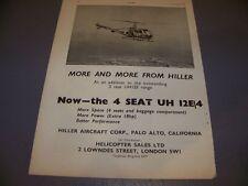 VINTAGE..1960 HILLER UH 12 E/4 HELICOPTER....ORIGINAL SALES AD...RARE! (877J)