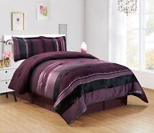 3Pc Twin  Purple Black Silver Stripe Oversize Chenille Comforter Set Bedding