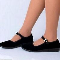 Women Black Mary Jane Shoes Work Ballerina Velvet Cloth Vintage Casual Shoes