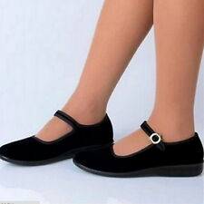 Women Mary Jane Shoes Vintage Chinese Beijing Cotton Sole Dance Work Flats Shoes