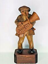 Anri Wood Figurine Tuba Player Musician 7.5�