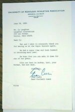 Fran Curci, Unv of Kentucky Football, Signed Letter to Cy Laughter, Bogie Buster