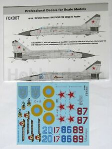 Foxbot 48-035 - 1/48 Decals for Ukrainian Foxbats: MIG-25PDS Accessories Scale