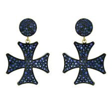14K Gold Pave Sapphire 925 Sterling Silver Cross Dangle Earrings Fashion Jewelry