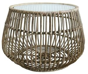 Handmade Natural Rattan Small Round Coffee Side Table with Glass Top 63cm