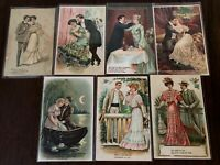 Lot of 7~Romantic Greetings~Postcards with ~Pretty Victorian Ladies & Men-b864
