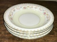 ALADDIN SUSSEX FINE CHINA MADE IN JAPAN VTG LOT OF 4 FLORAL RIM SOUP BOWLS EUC