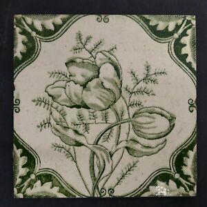 Antique Transfer Printed Floral Tile