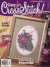 Crazy for Cross Stitch Mar 2002 PEACOCKS Bunny in Tulips Easter Spring & More