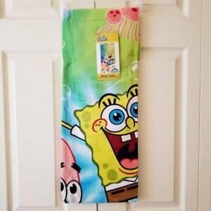 "SPONGEBOB Squarepants Kids Soft 100% Cotton Beach and Bath Towel 28"" x 58"" NEW"