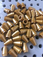 LEGO 1x1 Gold Round Nose Cones Bricks Small New Lot Of 50