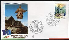 ITALY 1999 STATUE of OUR LADY of the SNOWS CENT/MOUNTAIN/PEOPLE/CATHOLICS FDC