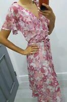 South stunning floral print V neck frilly sleeves long summer dress size UK 8