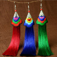 Fashion Women Bohemian Vintage Long Tassel Fringe Boho Hook Dangle Earrings