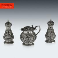 ANTIQUE 19thC INDIAN CUTCH SOLID SILVER CONDIMENT SET, OOMERSI MAWJI c.1890