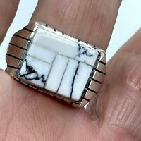 Navajo White Buffalo Turquoise Inlay Men's Ring sz13 Sterling Silver by Ray Jack