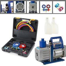 Manifold Set (R134a) A/C Diagnostic Auto Car Tester 1/2HP 5CFM Vacuum Pump Set