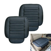 2pcs Car Seat Cover Breathable PU Leather Pad Mat for Auto Chair Cushion Black