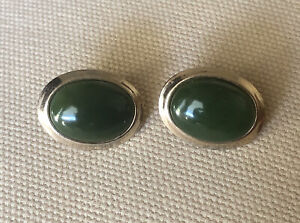 vintage chinese gold plated oval spinach green jade stud earrings