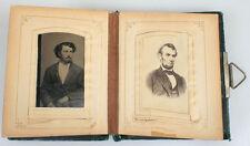 ANTIQUE PHOTO ALBUM 19TH CENTURY. LINCOLN CDV.  TINTYPES AND CDV PHOTOS.