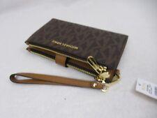 Michael Kors Jet Set Double Zip Phone Wristlet Wallet Clutch PVC Brown