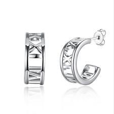 Numerals Hoop Earrings #E40 Womens 925 Sterling Silver Roman